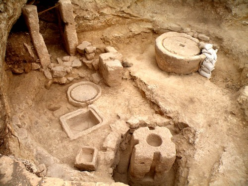 1400 year old olive press at Modi'in. Credit: Hagit Torgë, Israel Antiquities Authority.