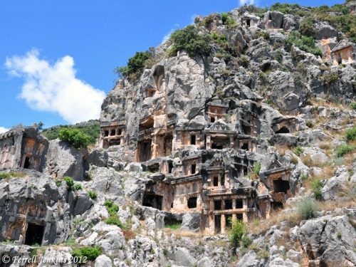 Fourth century rock cut tombs at Myra, Turkey. Photo by Ferrell Jenkins.