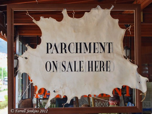 Parchment for sale at Bergama. Photo by Ferrell Jenkins.