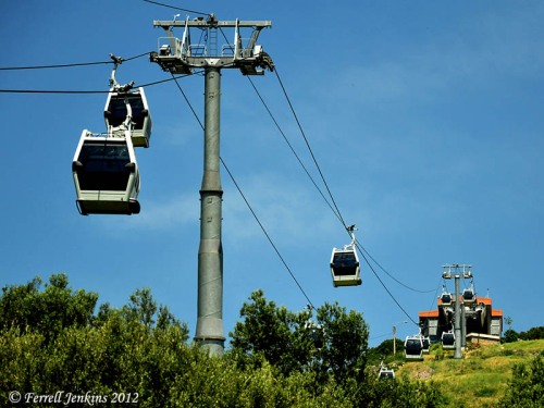 Cable cars to reach the Acropolis at Pergamum. Photo by Ferrell Jenkins.