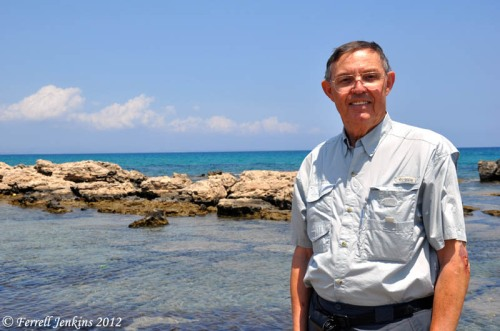Ferrell Jenkins at the ancient port of Salamis.