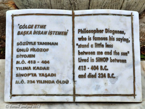 Sign on the Statue of Diogenes, Sinop, Turkey. Photo by Ferrell Jenkins.