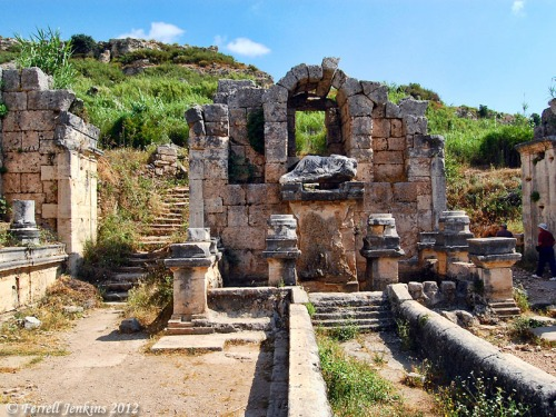 The Nymphaeum (Fountain) at Perga. Water flowed from the fountain. Photo by Ferrell Jenkins.