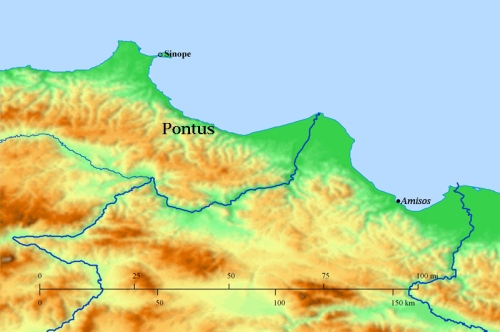 Map of Pontus showing Sinop and Amisos.