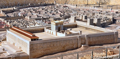 Second Temple Model showing porticoes around the perimeter of the Temple precinct. Photo by Ferrell Jenkins.