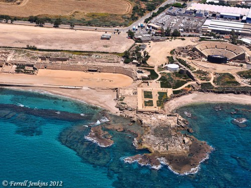 Aerial view of Caesarea Maritima. From Left to Right: hippodrome, palace of Herod, theater.