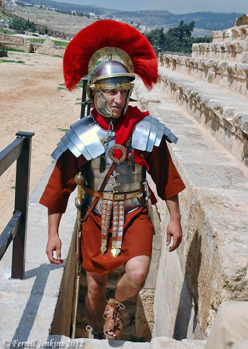 A centurion enters the hippodrome. An actor in the RACE show at Jerash, Jordan. Photo by Ferrell Jenkins.