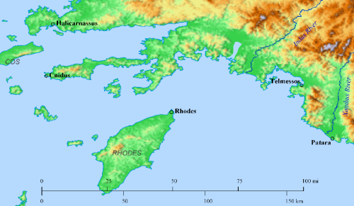Map showing Cnidus, Rhodes, and Patara. Made with Bible Mapper 4.