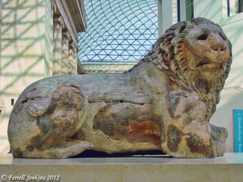 Colossal marble lion from Cnidus. British Museum. Photo by Ferrell Jenkins.