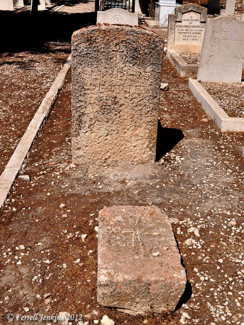 Grave marker for Flinders Petrie in Jerusalem Protestant Cemetery. Photo by Ferrell Jenkins.