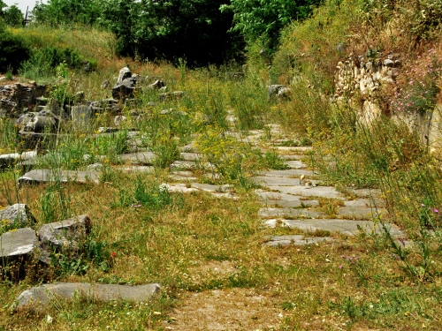 A portion of the Via Egnatia in the Forum at Philippi. Photo by Ferrell Jenkins.