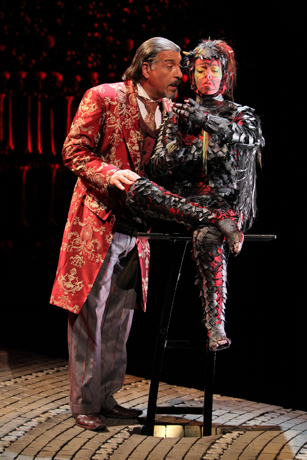 Max McLean as Screwtape and his secretary Toadpipe.