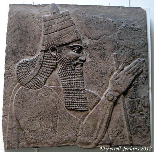 Tiglath-Pileser III, king of Assyria, from Nimrud's central palace. Now displayed in the British Museum. Photo by Ferrell Jenkins.