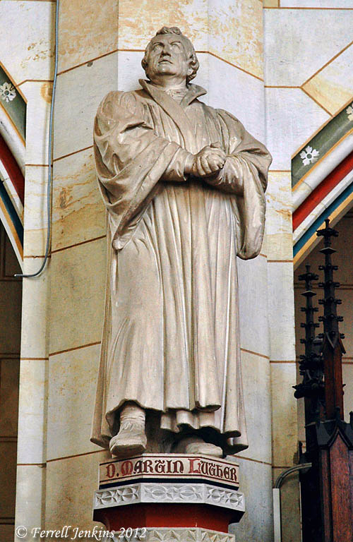 Statue of Martin Luther in the Wittenberg Castle Church. Photo by Ferrell Jenkins.