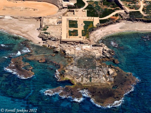 Aerial view of the Palace of the Procurators at Caesarea. Photo by Ferrell Jenkins.