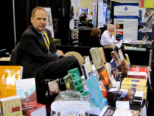 Promoting Moody Press books at the ETS meeting.