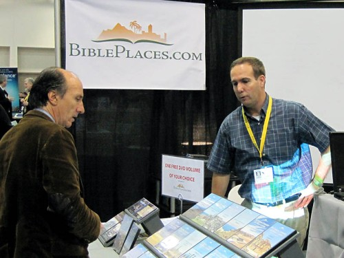 Todd Bolen, Bible Places.com, talks with a customer.