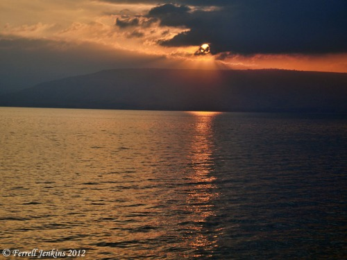 Sunrise on the Sea of Galilee, view east toward Decapolis. Photo by Ferrell Jenkins.