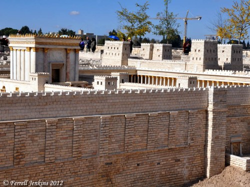 Second Temple Model, Jerusalem. The Fortress of Antonia stands on the northwest corner of the temple precinct. Photo by Ferrell Jenkins.