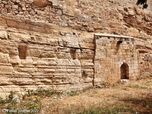The natural rock scarp at the NW corner of the Temple Mount. Photo by Ferrell Jenkins.