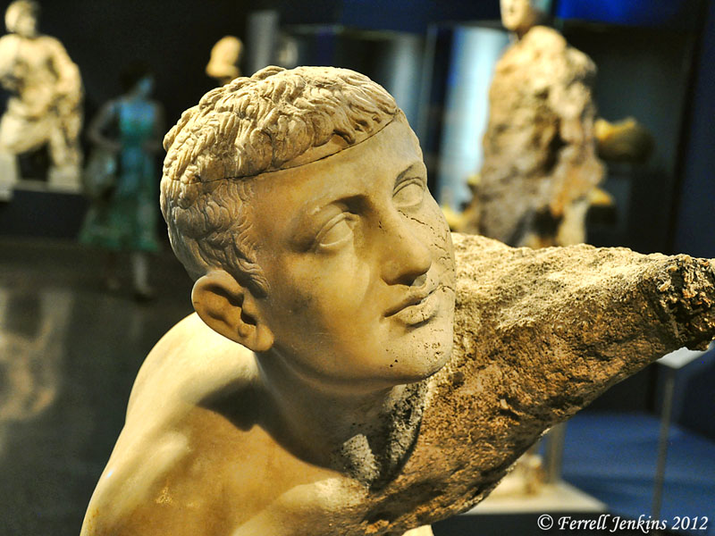 Statue of a boy from the Antikythera shipwreck. Photo by Ferrell Jenkins.