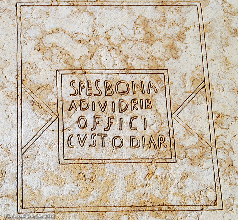 Prison inscription found at Caesarea. Photo by Ferrell Jenkins.