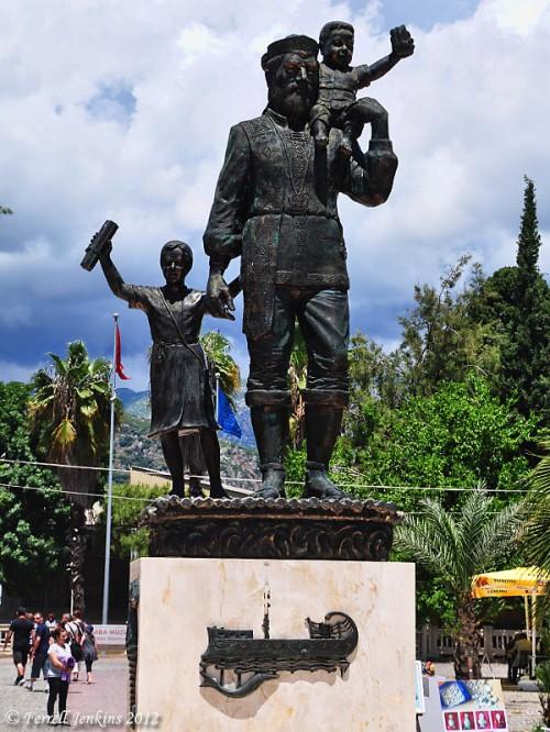 Modern statue of Saint Nicholas at Myra. Photo by Ferrell Jenkins.