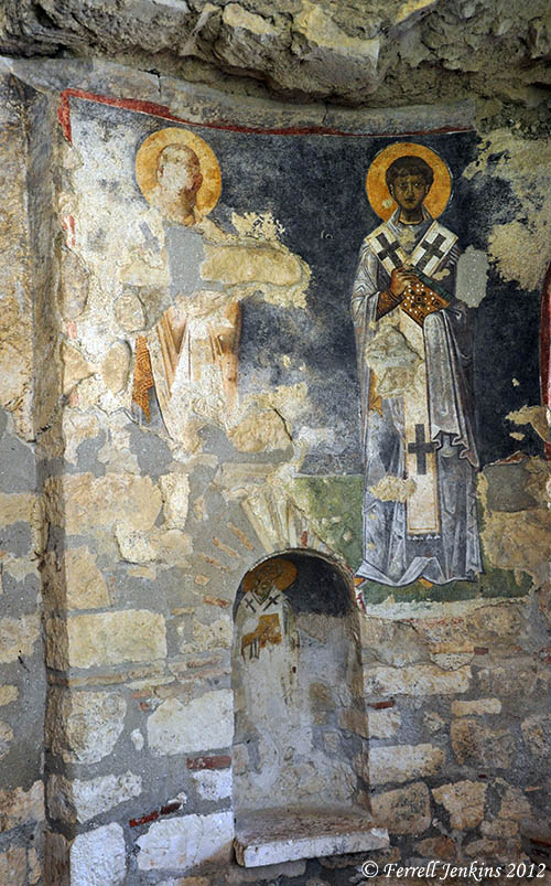 Fresco on the wall of St. Nicholas church in Demre. Photo by Ferrell Jenkins.