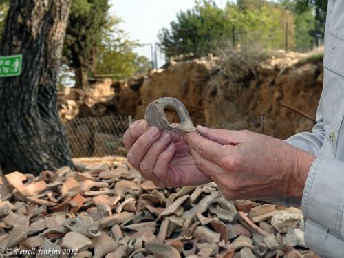 Potsherds at Ramat Rachel excavation. Photo by Leon Mauldin.