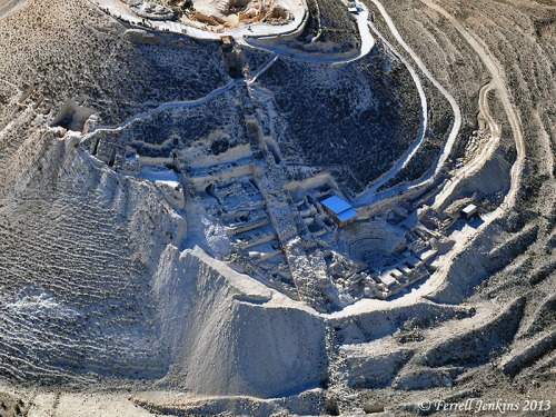 Aerial view of the Herodium with the area of Netzer's excavation visible.  Photo by Ferrell Jenkins.