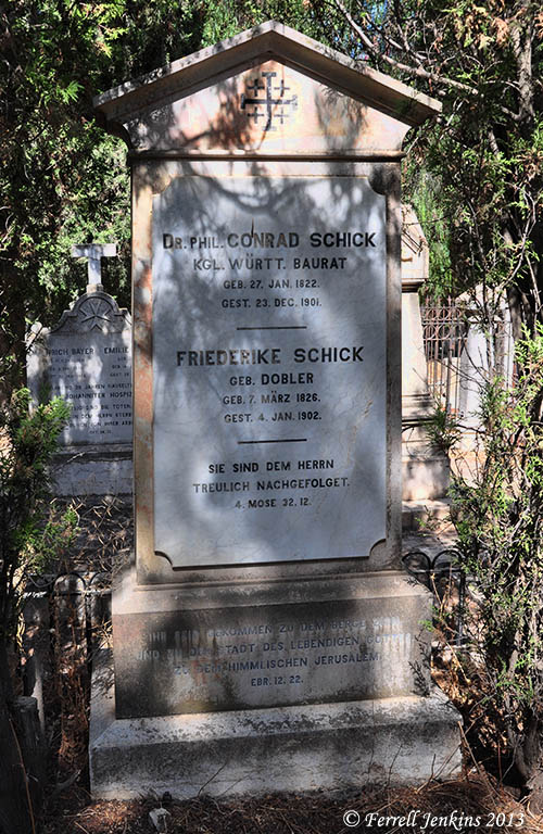 Grave marker for Conrad and Frederike Schick. Photo by Ferrell Jenkins.