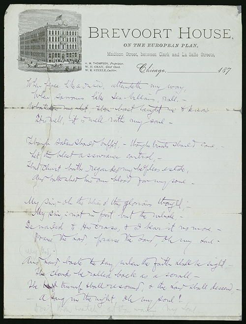 "Handwritten lyrics of ""It Is Well With My Soul."""