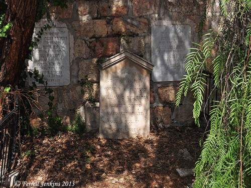 Grave stone for Spafford and other members of the American Colony in the Protestant Cemetery on Mount Zion. Photo by Ferrell Jenkins.