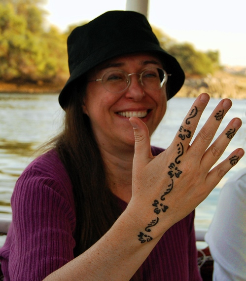 One of the young ladies of my tour got henna tatoos from the Nubians in southern Egypt. Photo by Ferrell Jenkins.