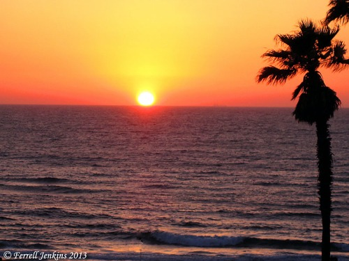 Sunset on the Mediterranean from Joppa. Photo by Ferrell Jenkins.