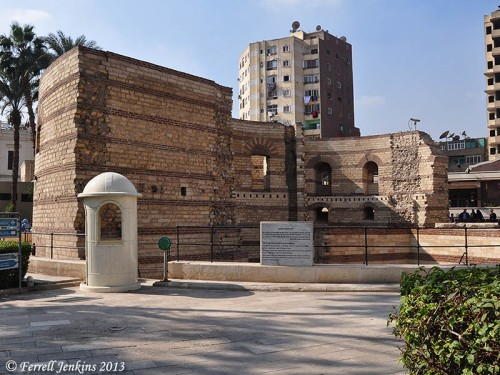 Roman Tower (Fort Babylon in Old Cairo. Photo by Ferrell Jenkins.