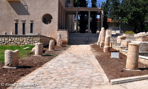 Roman Milestones at Beit Sturman Museum, En Harod, Israel. Photo by Ferrell Jenkins.