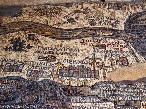 Portion of the Madaba Map mentioning Ephron. Photo by Ferrell Jenkins.