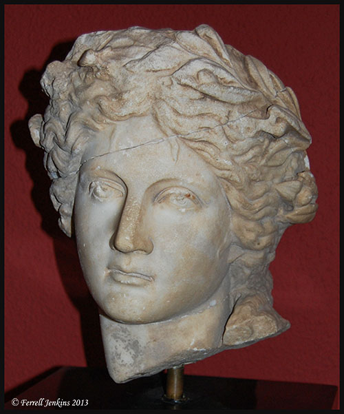 Marble head of Apolls from Perga. Second century A.D. Photo by Ferrell Jenkins.