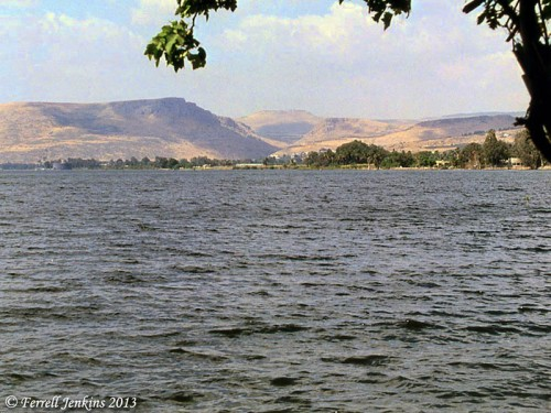 View from Dalmanutha toward Mount Arbel. Photo by Ferrell Jenkins 1994.