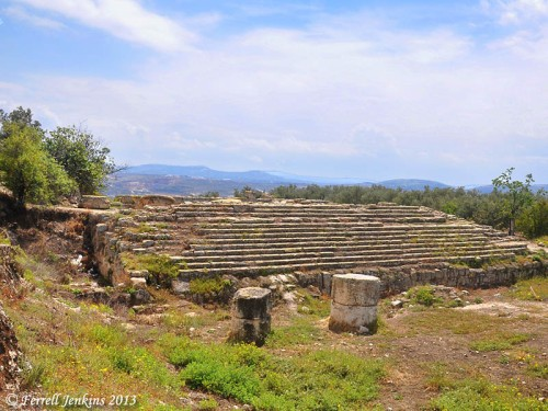 Steps of the Temple of Augustus at the site of N.T. Samaria. Photo by Ferrell Jenkins.