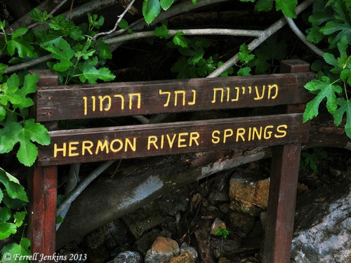 Sign at Banias denoting it as the Hermon River Springs. Photo by Ferrell Jenkins.