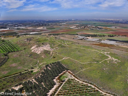 Aerial view of Tel Gezer toward the coastal plain, SW from the site. Photo by Ferrell Jenkins.