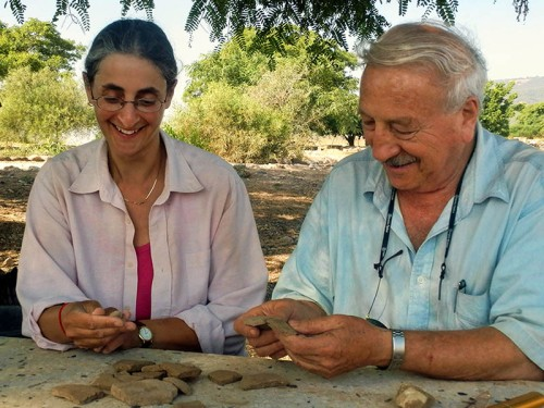 Prof. Amnon Ben-Tor and Dr. Sharon Zuckerman of the Hebrew University's Institute of Archaeology, who are leading the Hazor Excavations (Photo courtesy archaeologists Prof. Amnon Ben-Tor and Dr. Sharon Zuckerman)