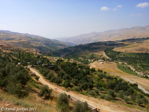 View toward the west from below the Kerak castle. Photo by Ferrell Jenkins.