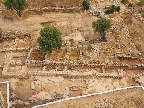 "An aerial picture of the ""palace"" and the Byzantine farmhouse. Photograph: Sky View, courtesy of the Hebrew University and the Israel Antiquities Authority."