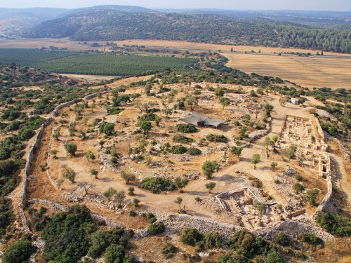 Aerial photo of Khirbet Qeiyafa. Photo: Sky View, courtesy of the Hebrew University and the Israel Antiquities Authority.