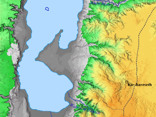 Location of Kir-hareseth, modern Kerak in Jordan.