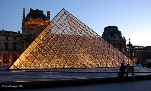 Entrance to the Louvre at night. Photo by Ferrell Jenkins.