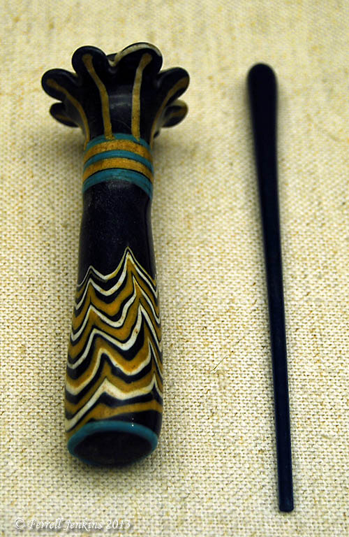 Palm-column flask and kohl stick. Museum of Fine Arts, Boston. Photo by Ferrell Jenkins.